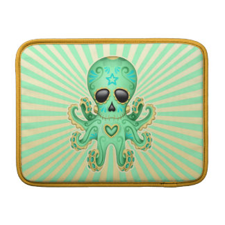 Cute Sugar Skull Zombie Octopus - Green MacBook Sleeve