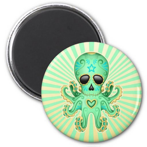 Cute Sugar Skull Zombie Octopus - Green 2 Inch Round Magnet