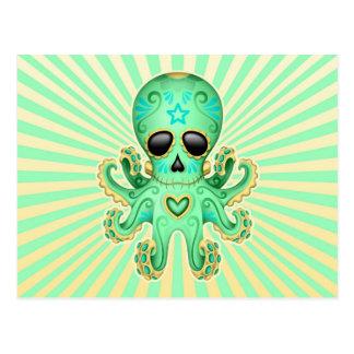 Cute Sugar Skull Zombie Octopus - Green Postcard