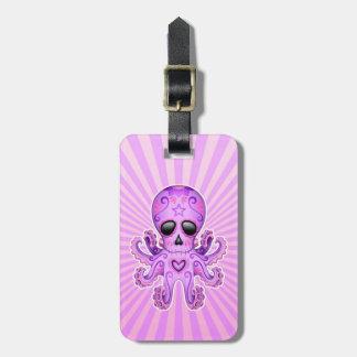 Cute Sugar Skull Zombie Octopus - Purple Luggage Tag