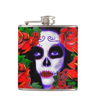 cute sull woman,lady skull flask