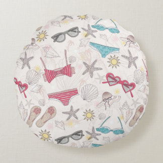 Cute Summer Abstract Pattern Round Pillow
