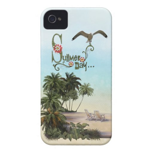 Cute Summer Day With Palm Trees iPhone 4 Cover