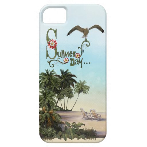Cute Summer Day With Palm Trees iPhone 5 Case