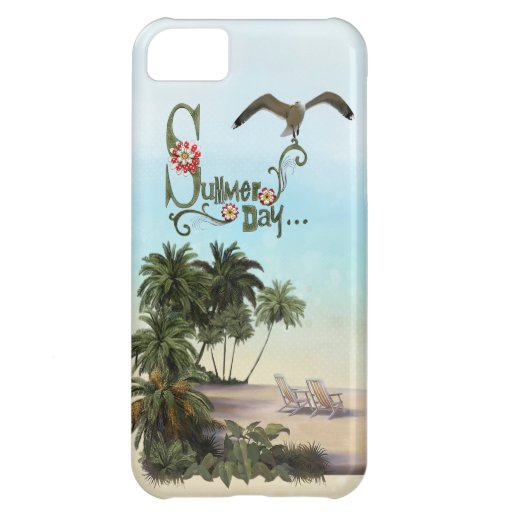 Cute Summer Day With Palm Trees iPhone 5C Cover