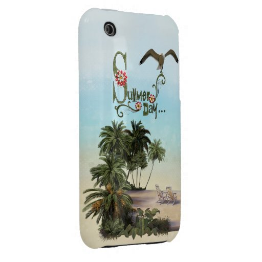 Cute Summer Day With Palm Trees iPhone 3 Case-Mate Cases
