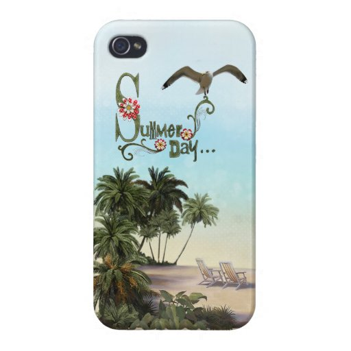 Cute Summer Day With Palm Trees iPhone 4 Covers