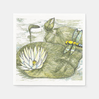 Cute Summer Dragonfly and Lilly Pad Paper Napkin