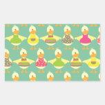 cute summer ducks rectangular stickers