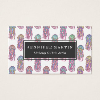 Cute Summer Electric Pink Teal and Blue Jelly Fish Business Card