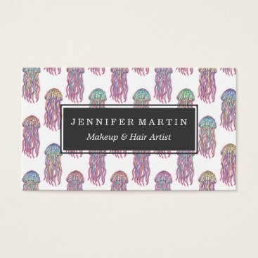 Beach Themed Cute Summer Electric Pink Teal and Blue Jelly Fish Business Card