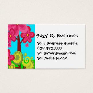 Cute Summer Fun Pink Flower Trees Business Cards