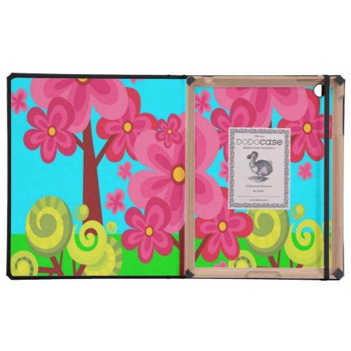 Cute Summer Fun Pink Flower Trees Lollipop Forest Case For iPad