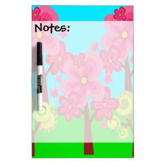 Cute Summer Fun Pink Flower Trees Lollipop Forest Dry-Erase Board