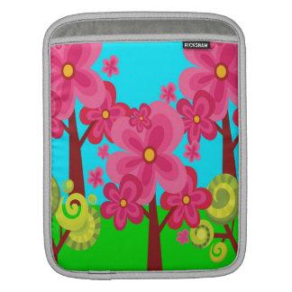 Cute Summer Fun Pink Flower Trees Lollipop Forest iPad Sleeves