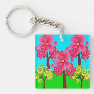 Cute Summer Fun Pink Flower Trees Lollipop Forest Keychain