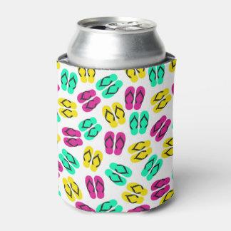 Cute Summer Neon Flip Flops Pattern Can Cooler