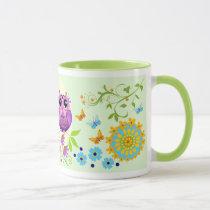 Cute summer owls, flowers and custom name mug
