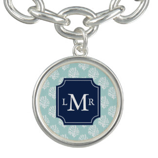 Cute Summer Pattern and Blue Monogram Personalized Bracelet