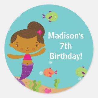 Cute Summer Pool Mermaid Birthday Sticker