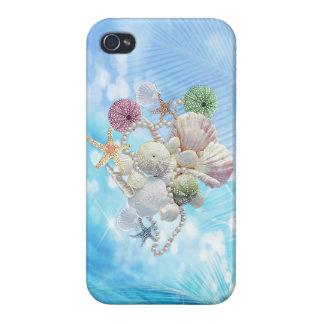 Cute Summer Starfish , Shells And Pearls iPhone 4 Cover