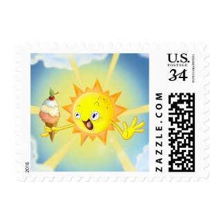 Cute Summer Sun Large Postage Stamp