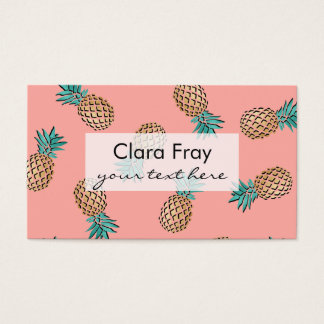 cute summer tropical faux gold pineapple pattern business card