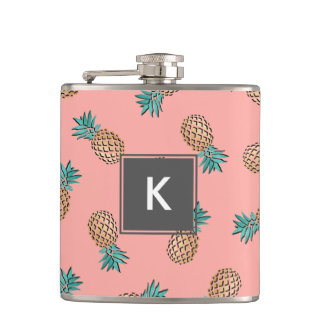 cute summer tropical faux gold pineapple pattern hip flask