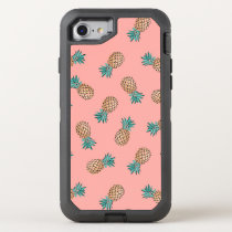 cute summer tropical faux gold pineapple pattern OtterBox defender iPhone 8/7 case