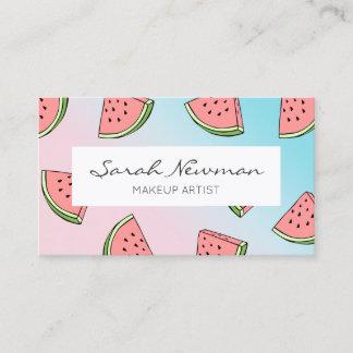 Cute summer watermelon pattern pastel pink & blue business card