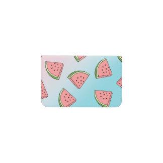 Cute summer watermelon pattern pastel pink & blue business card holder