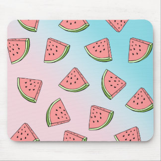Cute summer watermelon pattern pastel pink & blue mouse pad