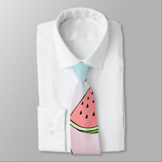Cute summer watermelon pattern pastel pink & blue neck tie