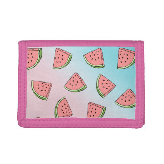 Cute summer watermelon pattern pastel pink & blue trifold wallet