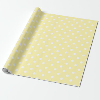 Cute Summer Yellow White Polka Dots Wrapping Paper