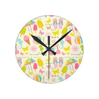 Cute Summertime Round Clock