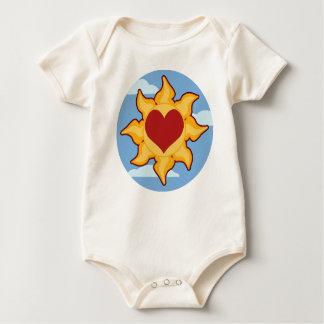 Cute Sun and Heart Organic Baby Creeper