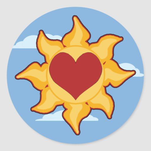 Cute Sun and Heart  Stickers