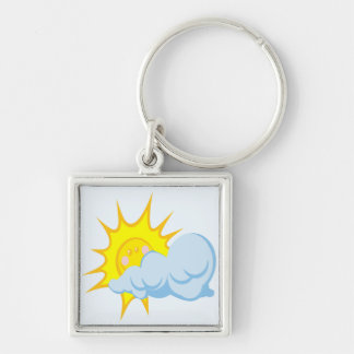 Cute Sun Behind a Cloud Silver-Colored Square Keychain