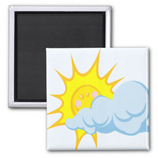 Cute Sun Behind a Cloud Magnet