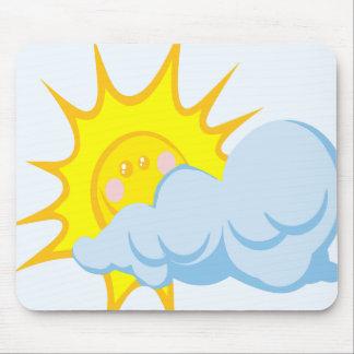 Cute Sun Behind a Cloud Mouse Pad