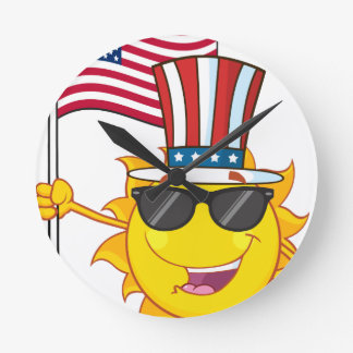 Cute sun cartoon mascot character with sunglasses round clock