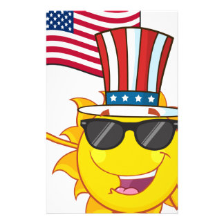Cute sun cartoon mascot character with sunglasses stationery