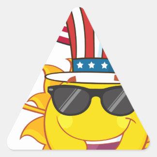 Cute sun cartoon mascot character with sunglasses triangle sticker
