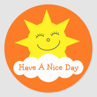 Cute Sun & Cloud Have A Nice Day Orange Stickers