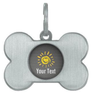 Cute Sun; Faux Carbon Fiber Pet Name Tag