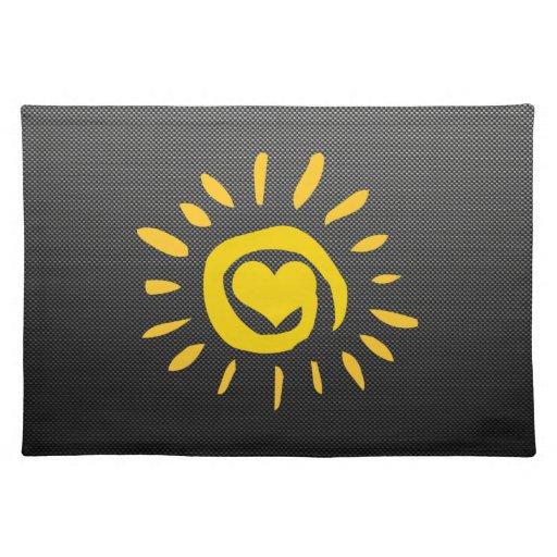 Cute Sun; Faux Carbon Fiber Placemat