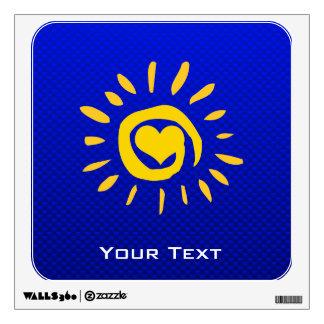 Cute Sun & Heart on Blue Wall Stickers
