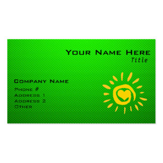 Cute Sun & Heart on Green Double-Sided Standard Business Cards (Pack Of 100)