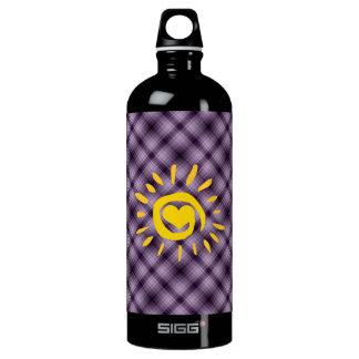 Cute Sun & Heart on Purple Plaid Aluminum Water Bottle